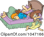1047166-Royalty-Free-RF-Clip-Art-Illustration-Of-A-Cartoon-Boy-And-Father-Kicking-A-Mother-Out-Of-Their-Bed